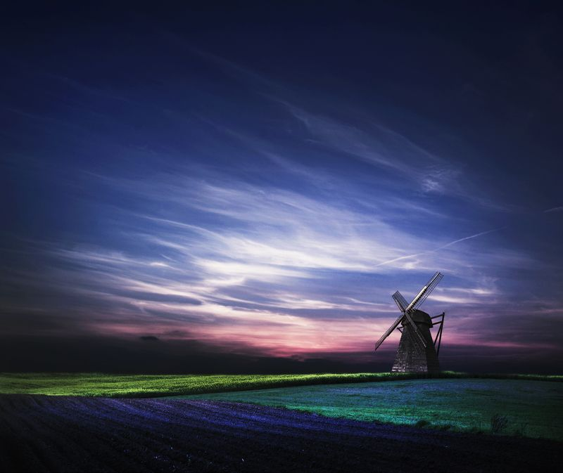 mill, clouds, field, sky,  *photo preview