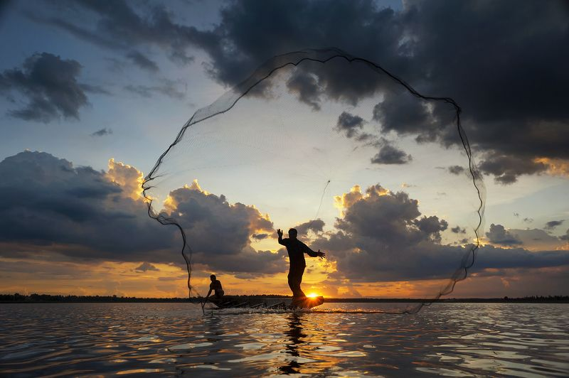 Action, Asia, Asian, Clouds, Colors, Concept, Culture, Fish, Fisherman, Fishing, Kingfisher, Moment, Nets, Ocean, Sea, Sky, Sun, Sunlight, Sunrise, Sunset, Water The netsphoto preview