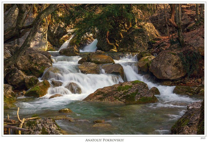 вода, водопад, перекат, большой каньон, крым, весна, река, поток, анатолий покровский Течениеphoto preview