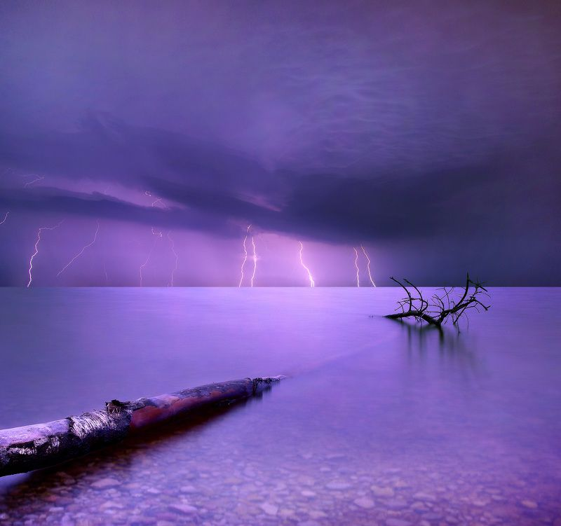 Lithuania, long exposure, water, tree, lightning, lake, storm *photo preview