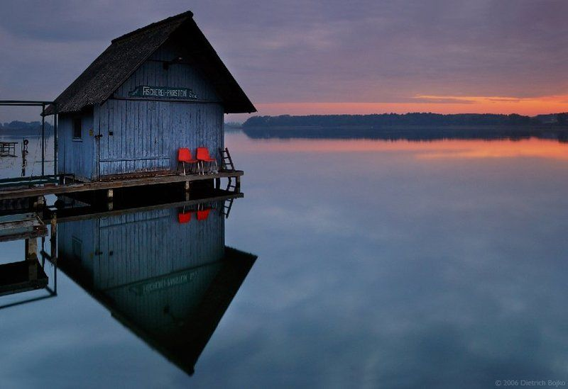 утро,озеро,бранденбург,пейзаж Рыбацкая избушкаphoto preview