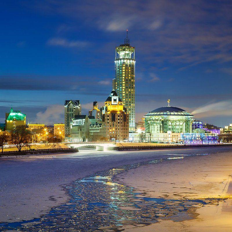 Вечер, Зима, Лед, Ммдм, Москва, Река ММДМphoto preview