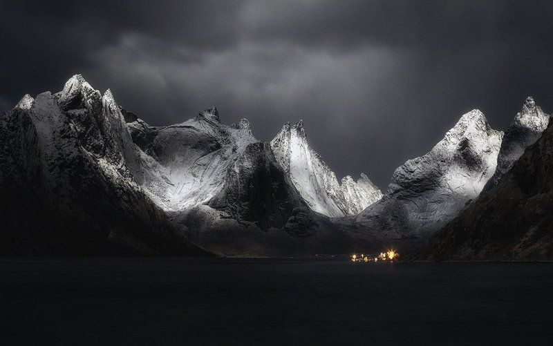 lofoten, norway, snow, winter, fjord, village, night,  At the gates of Moriaphoto preview