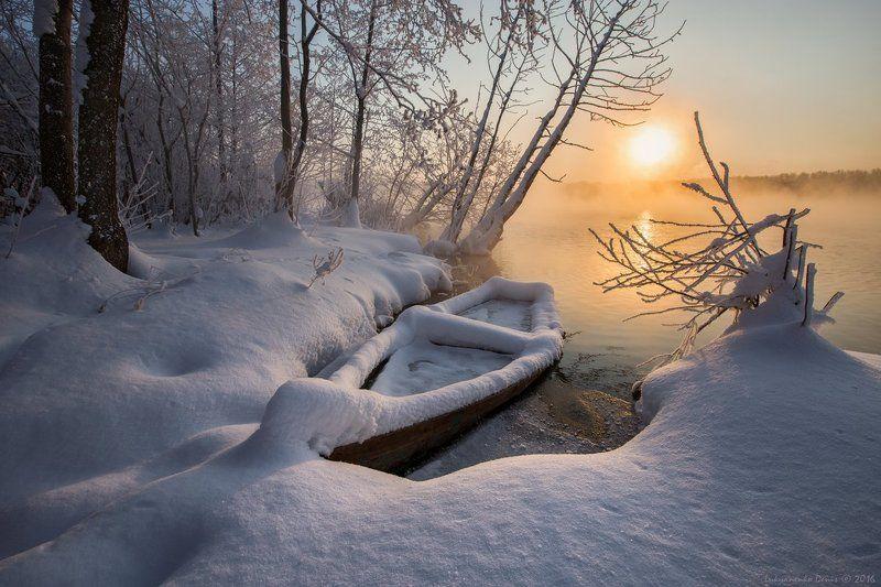 2016, Деревья, Зима, Иней, Лодка, Озеро, Россия, Снег, Солнце, Шатура, Январь Зимний сонphoto preview