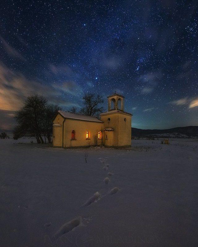 chapel, stars, night, church, snow,  Параклис под звездитеphoto preview