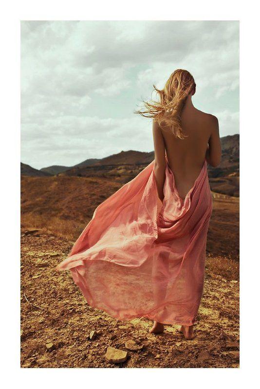 лето, жара, горы, девушка, ткань, ветер, зной breezephoto preview