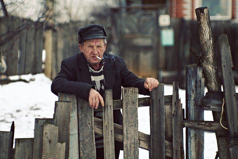 дед, старость, жизнь, деревня, зима Дедphoto preview
