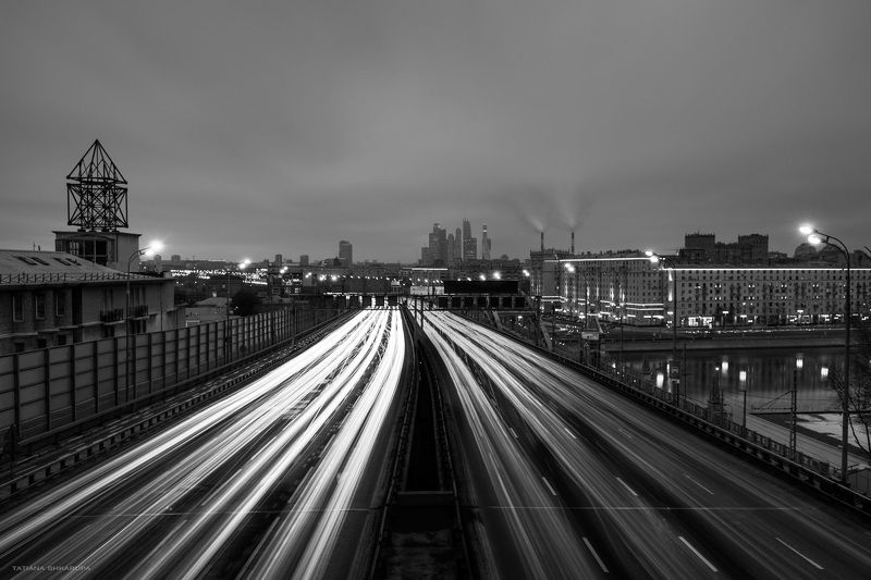 москва, город, движение, трассеры, ND, чб городские видыphoto preview