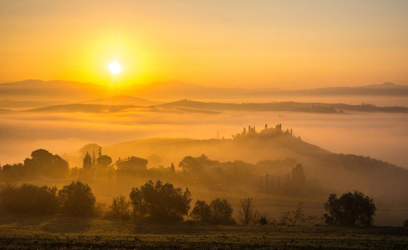 тоскана, природа, утро, туман, пейзаж, италия, путешествие, европа, д\'орча,  tuscany, nature, morning, fog, landscape, italy, journey, europe, d\'orcia ТУМАННОЕ УТРО В Д\'Орча. Из серииphoto preview