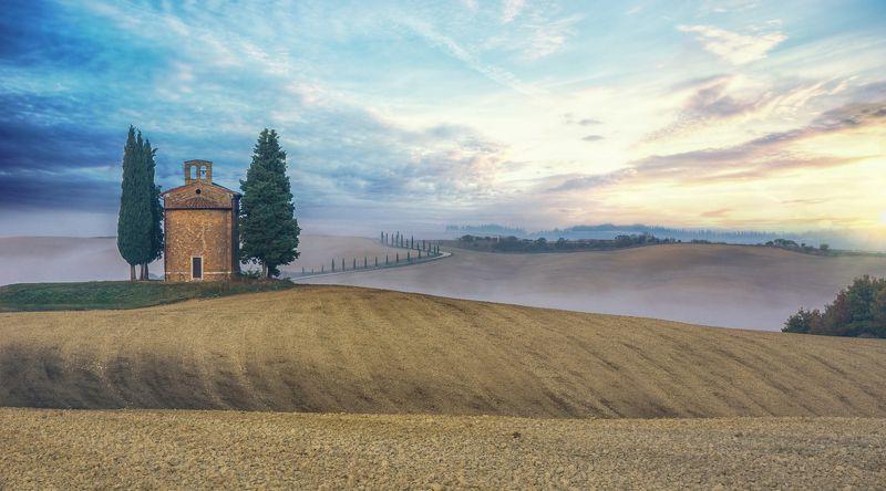 tuscany, nature, morning, fog, landscape, italy, journey, europe, d\'orcia тоскана, природа, утро, туман, пейзаж, италия, путешествие, европа, д\'орча НА РАССВЕТЕ. Из серииphoto preview