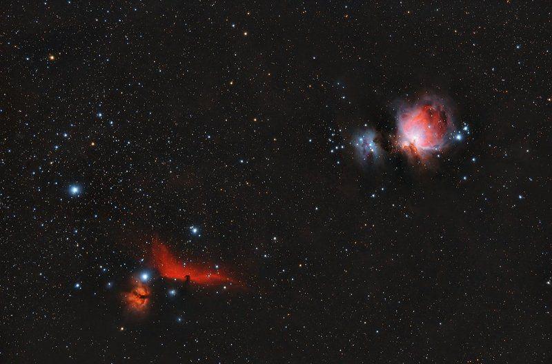 barnard 33, m42, m43, альнилам, альнитак, бегущий человек, конская голова Туманность Конская Голова, Пламенная, Бегущий человек, M42, M43.photo preview