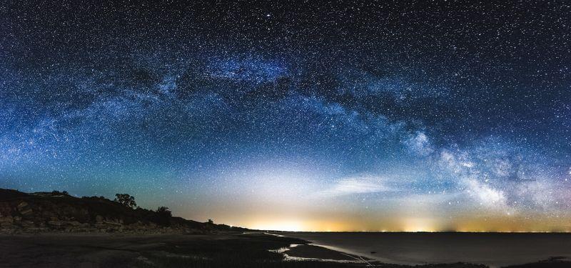 млечный путь, звезды, космосб таганрог, ростов, пейзаж, ночь, море, берег,  Млечный путь над Ростовомphoto preview