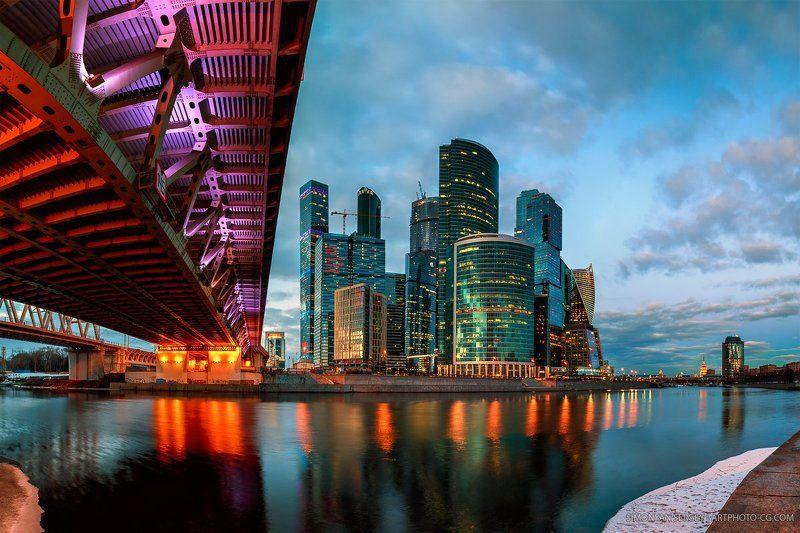 Вечер, Закат, Москва, Москва-сити, Мост, Подсветка, Река photo preview