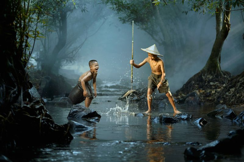 Action, Asia, Asian, Child, Children, Fisherman, Fishing, Happiness, Light, River Happy momentphoto preview