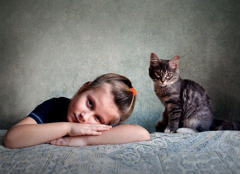 портрет ребенка и котаphoto preview