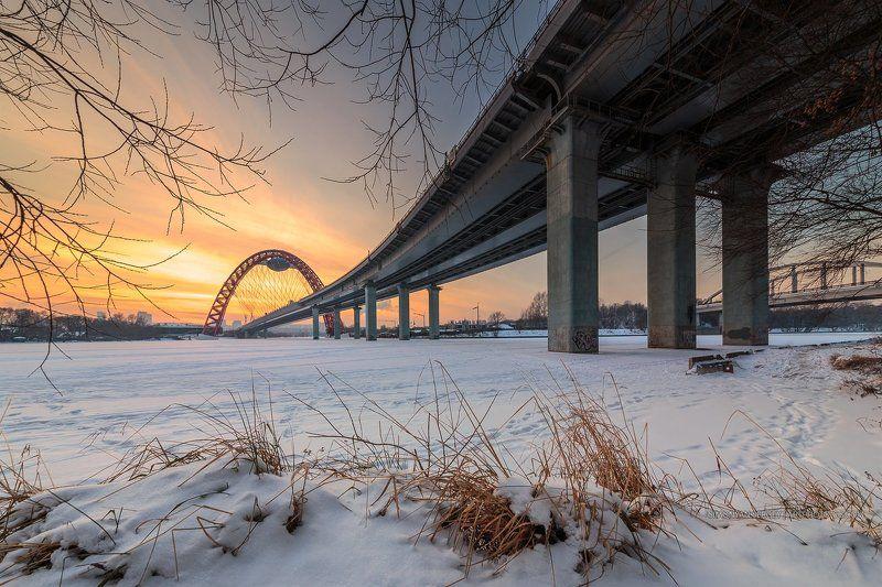 закат, зима, москва, мост Вечер у Живописного мостаphoto preview