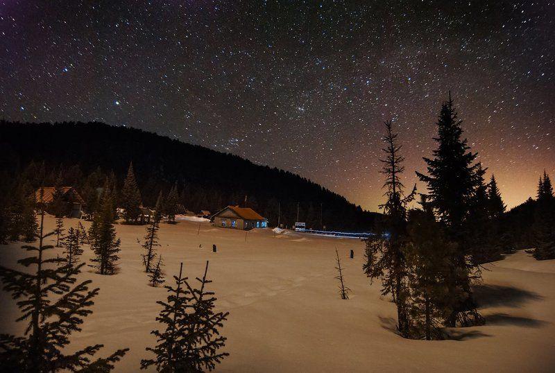 Лес, пейзаж, поляна, ночь, звезды, небо, зарево, домики, деревья, ели, снег, зима, красота, сказка На метеостанцииphoto preview