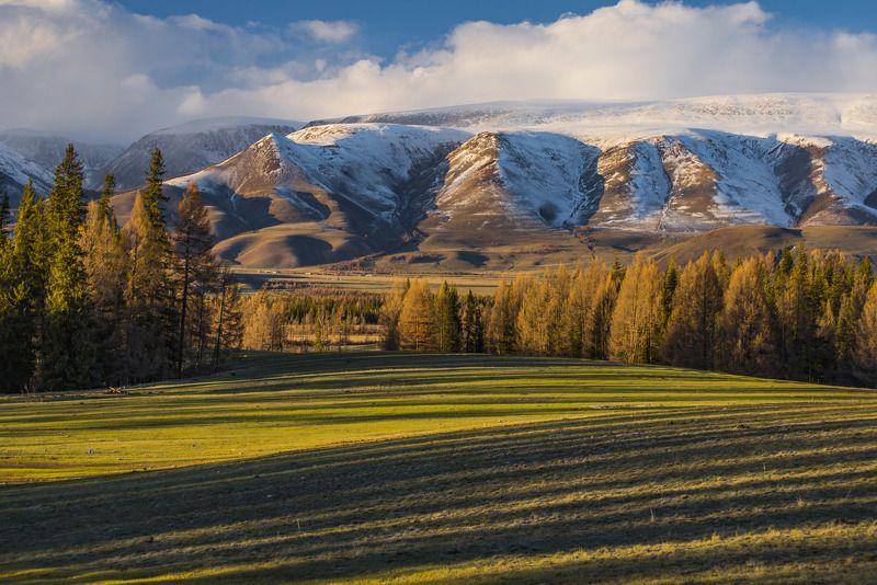 пейзаж, вечер, лес, горы, природа, снег, весна, закат, деревья Золотые полосыphoto preview