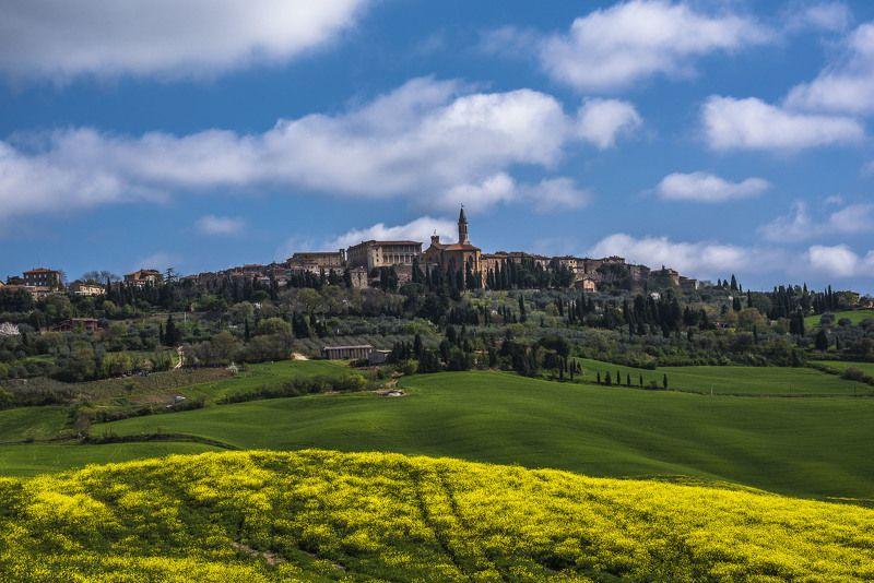 архитектура, облака, поля, пейзаж, долина, италия, небо, весна, город, тоскана Пиенцаphoto preview