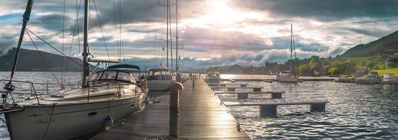 Закат, Норвегия, Причал, Фьорды, Яхта Вечер в Россендалеphoto preview