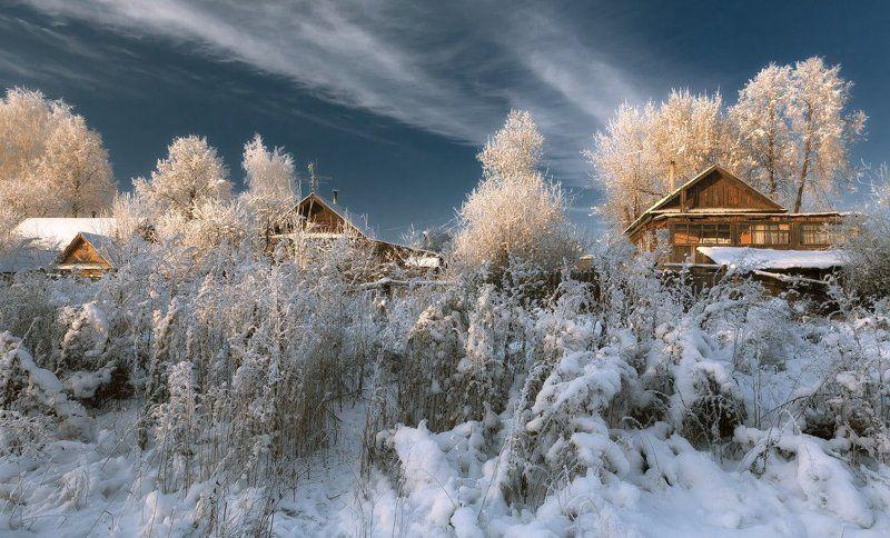 Избушки заборы деревья кусты снег иней зима мороз свет  Морозный свет на задворкахphoto preview