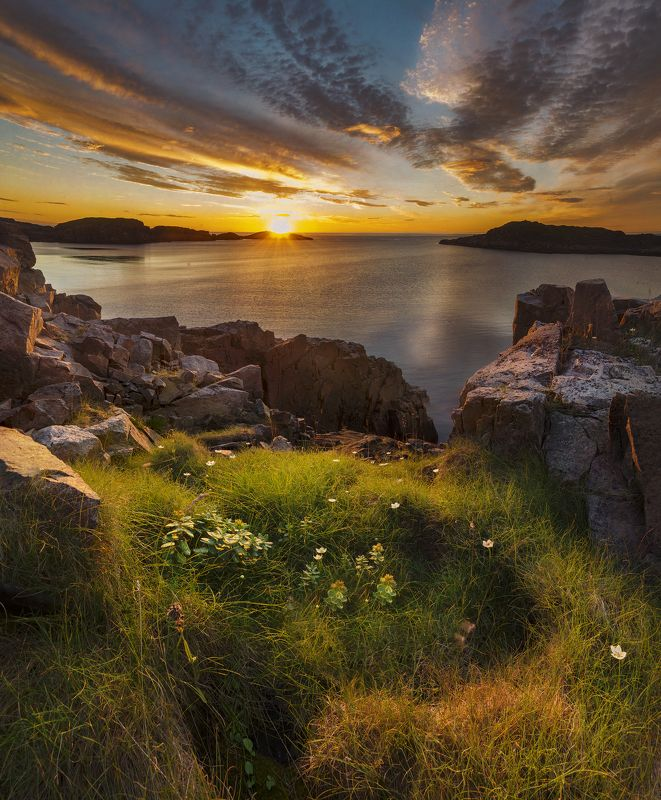Кольский полуостров, закат, Дальние Зеленцы, sunset, Dal\'nie Zelentsy Среди скалphoto preview