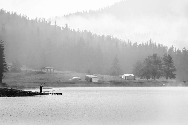 Fisherman landscape, Fog, Mountains, Weather Плохая погодаphoto preview