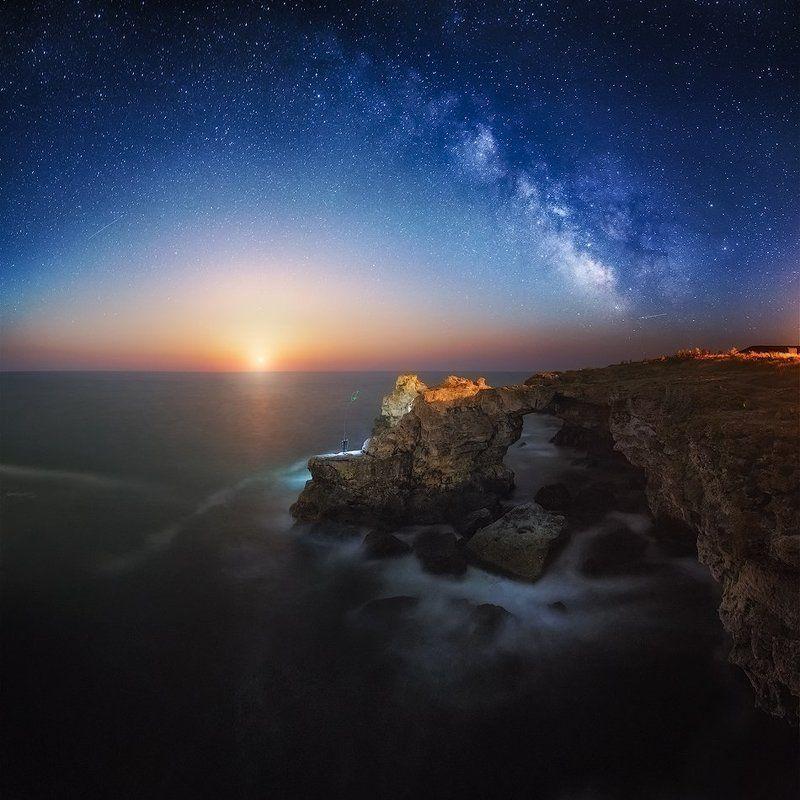 night, Bulgaria, moon, stars, fisherman, milky way The archphoto preview