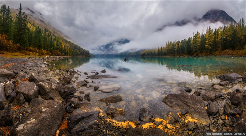 алтай, аня графова, горный алтай, горы, катунский хребет, кучерлинское озеро, осень Тучное утро на Кучерлинском озереphoto preview