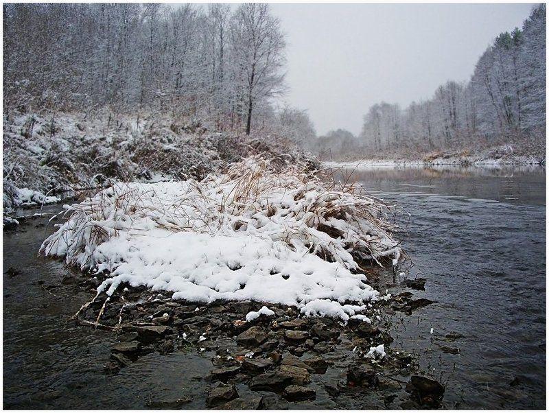 пейзаж,снег,река,небо,осень,певый снег Первый снегphoto preview