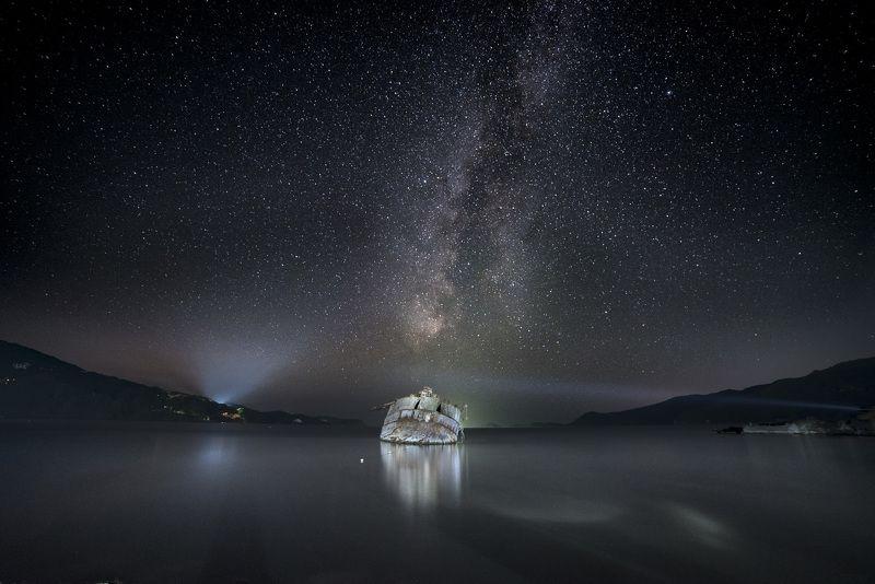 море, ночь, ночное небо, звезды, шхуна, млечный путь, звездное небо Звездная гаваньphoto preview