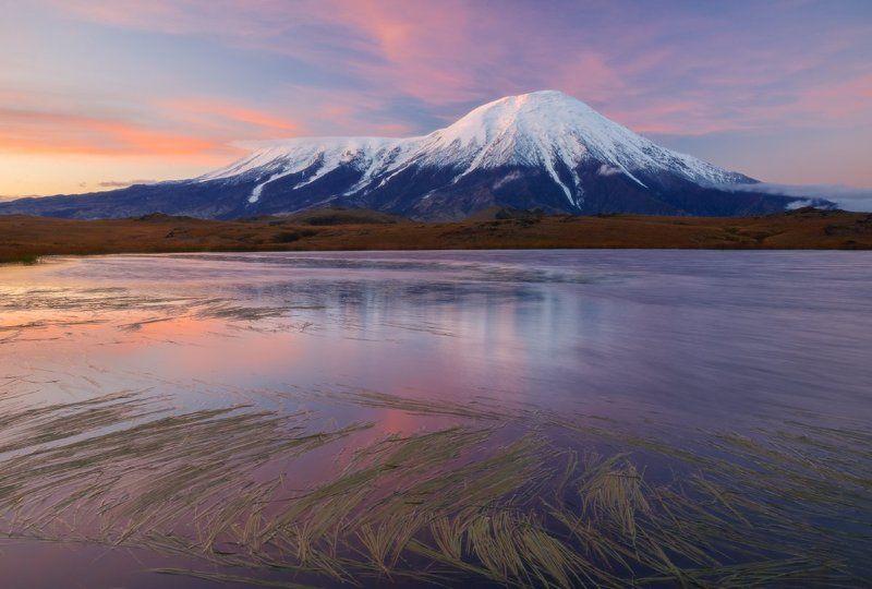 Вулкан, Камчатка, Отражение, Пейзаж, Рассвет, Россия, Толбачик Толбачик на рассветеphoto preview