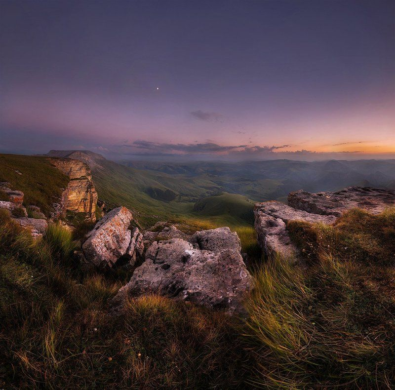 бермамыт, закат, эльбрус Закат на плато Бермамытphoto preview