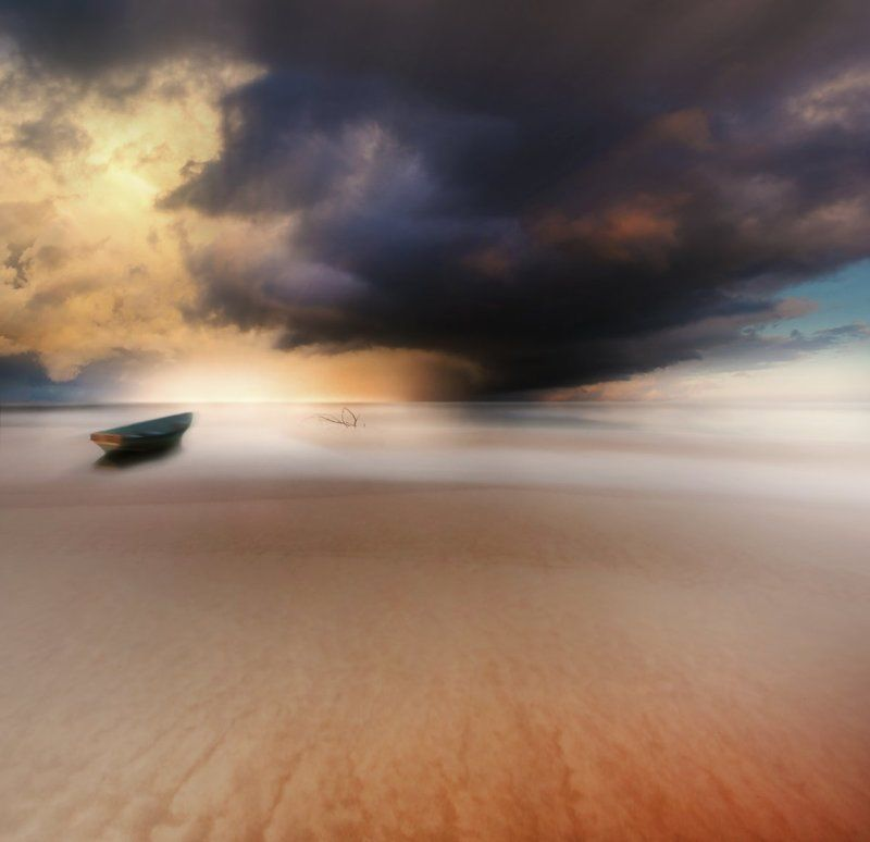 Lithuania, boat, sea, Baltic sea, water, clouds, storm, sun *photo preview