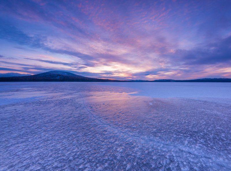 зюраткуль, южный урал, пейзаж, природа, россия, зима, лед, озеро, закат, горы Зюраткульский ледphoto preview