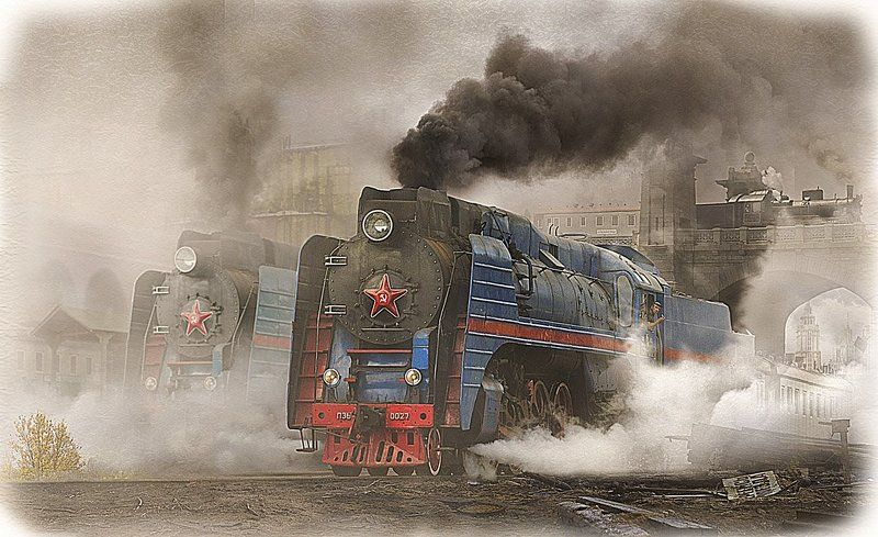 паровоз, серии, п36, 027, советский союз, родина 027photo preview
