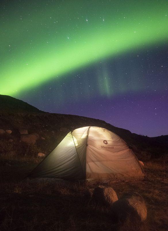 Северное сияние, Aurora Borealis, Дальние Зеленцы, Кольский полуостров Под ночным небомphoto preview