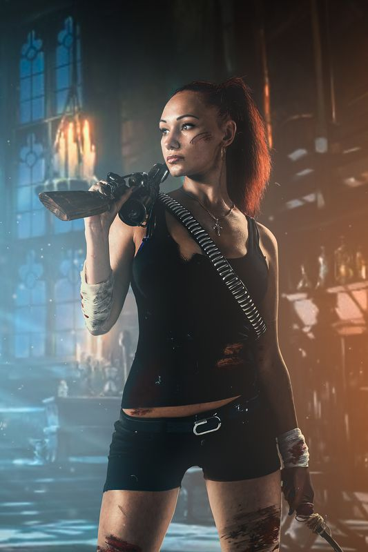 lara croft, портрет, художественная ретушь, коллаж Tomb Raiderphoto preview