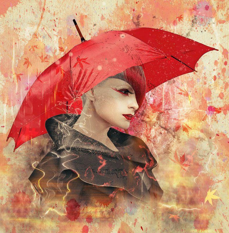 красный зонт, девушка в профиль,осенние листья Красный зонтик..photo preview