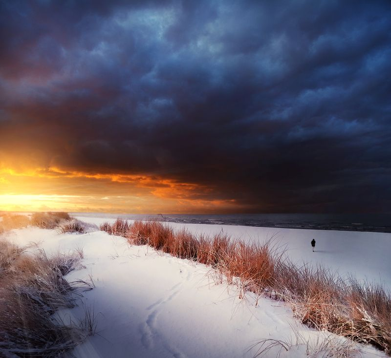 lithuania, clouds, sky, sun, baltic sea, winter, snow *photo preview