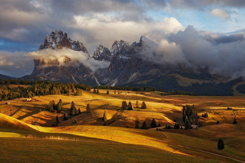 dolomites, dolomiti, italy, light, autumn, fall, evening, meadow, trees, huts, landscape, nature, alps, mountains, sassolungo, peaks Clouds Have Brokenphoto preview