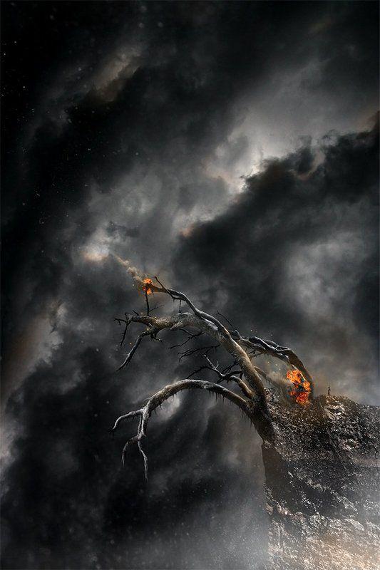 небо, пейзаж Слушая огни...photo preview