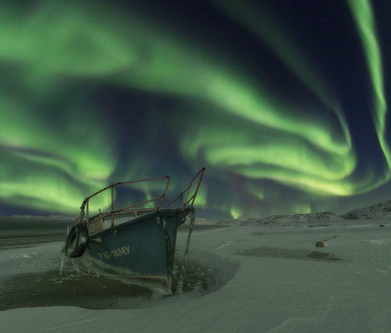 северное сияние, aurora borealis, кольский полуостров, баренцево море Рождественская сказкаphoto preview