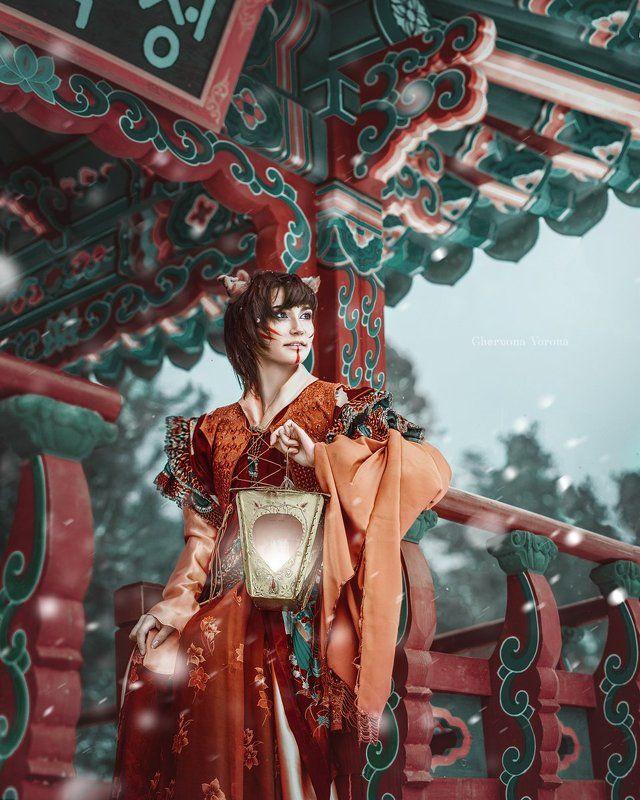 восток, кимоно, лиса,  Кицунеphoto preview