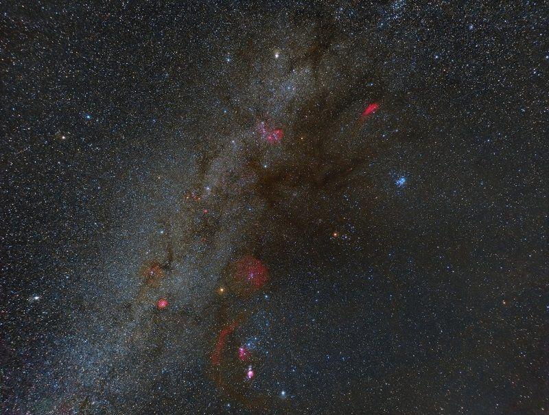 Орион, водородные туманности, Космос Яркие краски зимнего ночного небаphoto preview