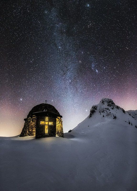 stars, Bulgaria, night, milky way, church, snow, winter Way to the starsphoto preview