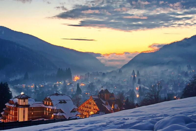 зима вечер родной посёлок Вечереет*photo preview
