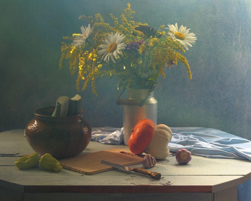тыква,овощи,цветы,букет,интерьер, дневной свет, flower Натюрморт  с овощамиphoto preview