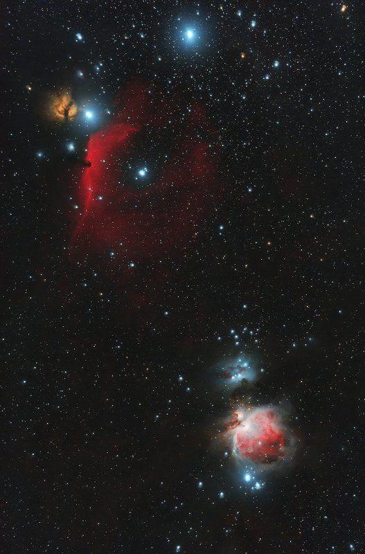 звезда альнитак, альнилам, голова лошади ic 434, barnard 33, туманность пламя ngc 2024, m42, m43, бегущий человек ngc 1977 Космос 1500 св. летphoto preview