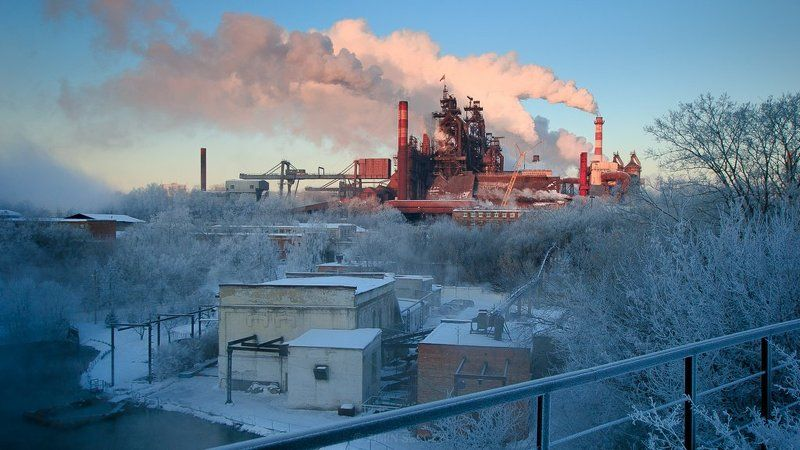 завод, природа, рассвет, россия, тула, туман ...photo preview
